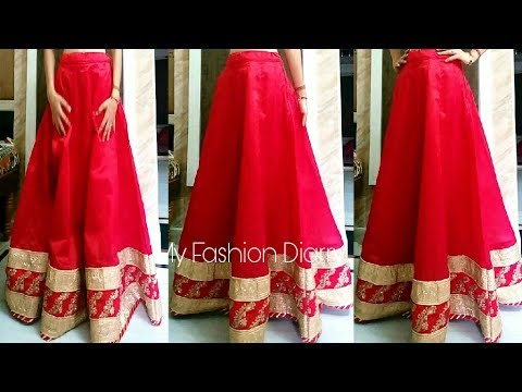How to make kalidar { Anarkali } lahnga with BORDER / LACES  | FULL TUTORIAL | DIY