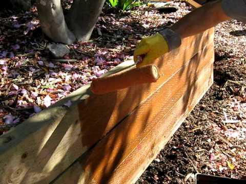 Oil pine sleeper wall 1