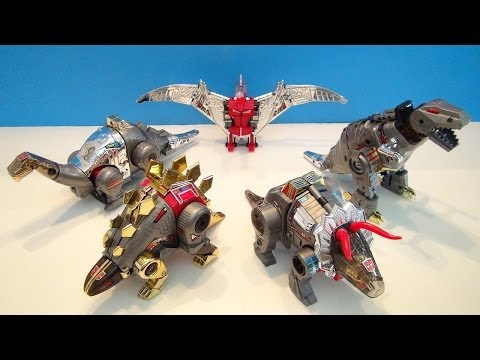 TRANSFORMERS G1 DINOBOTS COLLECTION VIDEO REVIEW WITH GRIMLOCK, SWOOP, SLUDGE, SLUG, AND SNARL