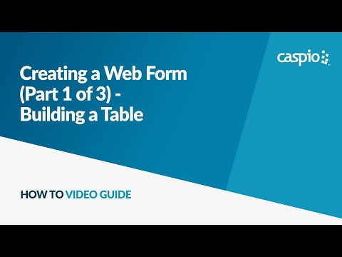 Creating a Web Form (Part 1 of 3) - Building a Table