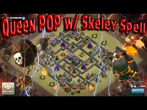 TH9 Queen POP LaLoon Skeley Spell. Still BEST ATTACK! Clash of Clans