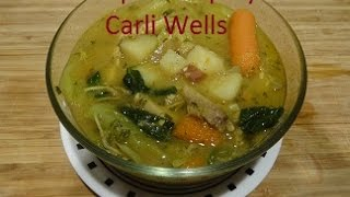 This Soup is great for providing vitamins, minerals, protein and fiber.  Because of the the type of spices used(tumeric, a little bit of nutmeg, garlic, onion and parsley) it is wonderful for boosting the immune system.  The potatoes, parsley, spinach, cabbage and pepper also help with High Blood Pressure and Type 2 Diabetes.