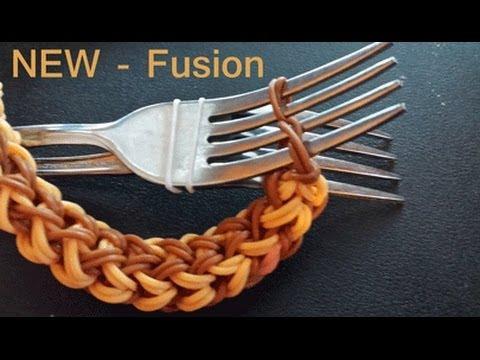 Fusion Rainbow loom Bracelet on two forks