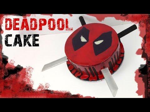 DEADPOOL CAKE! Chocolate ganache drip cake and Deadpool swords out of fondant!