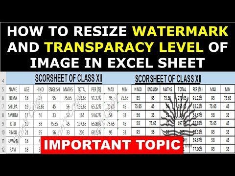 How to Resize Watermark and Transparacy level of image in Excel Sheet Image and Word in hindi