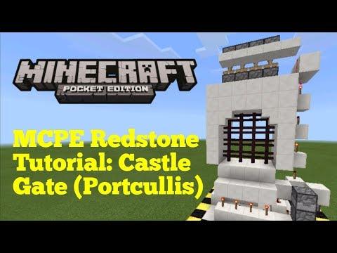 Minecraft Pocket Edition Redstone Tutorial: Castle Gate (MCPE 1.1.0)
