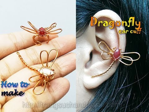 Dragonfly ear cuff - How to make handmade copper wire jewelry 367