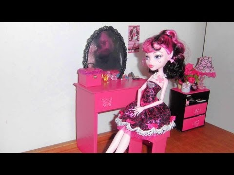 How to make a Bedroom Vanity for doll (Monster High, Barbie, etc)
