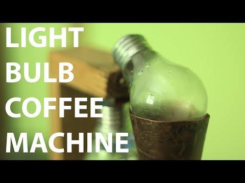 A coffee machine made of light bulbs