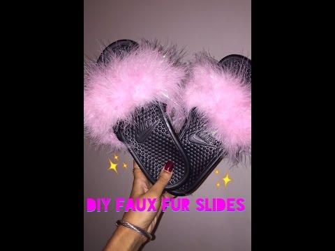 DIY Faux Fur Slides♥