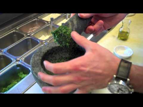 Cooking: How to make pesto sauce using a mortar and pestle