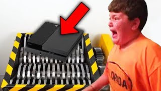 kid crushes ps4 in shredder after losing fortnite.. (BIG MISTAKE)