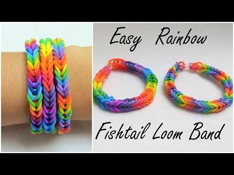 Easy Rainbow Fishtail Loom Band Tutorial ♡