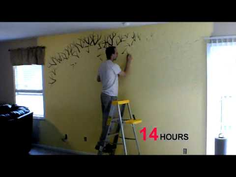 Time lapse of me, painting a family tree!