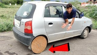 We Tried Wooden Tyre In our car|| Wooden Tyre vs Car Experiment || Experiment King