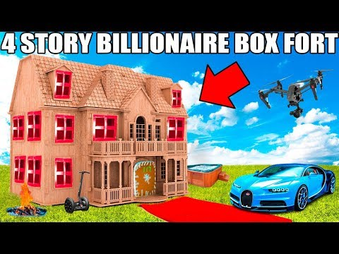4 STORY BILLIONAIRE BOX FORT CHALLENGE!! 📦💰Movie Theatre, Drone Defence, Gaming Room & More!