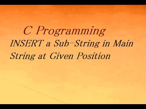 C Program To Insert Substring Into A String