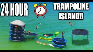 24 HOUR TRAMPOLINE FORT IN THE OCEAN!! Round 2! (COPS CALLED 5 TIMES) | JOOGSQUAD PPJT