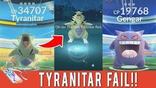 WORST RAID EVER! LEVEL 4 TYRANITAR RAID BOSS FAIL! Level 3 Gengar Raid Boss! Pokemon GO Gym Raids