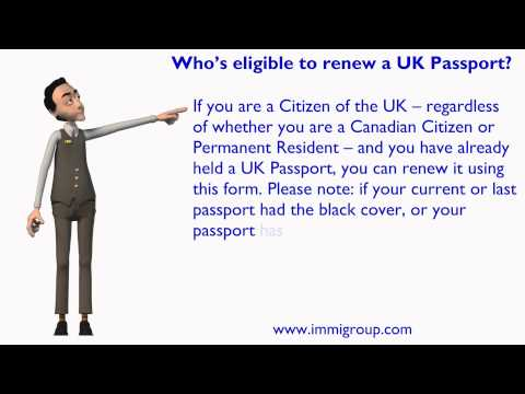 Who's eligible to renew a UK Passport?