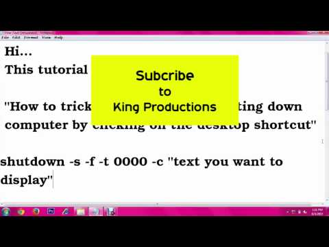 How to shutdown computer by desktop shortcut  Prank Trick