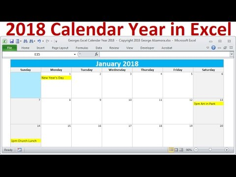 2018 Calendar Year in Excel, 2018 Monthly Calendars, Year 2018 Calendar with Holidays, 2018 Planners