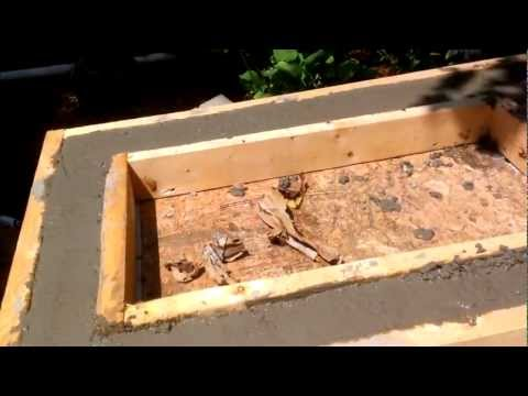 Outdoor kitchen counter construction