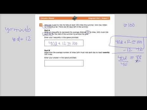 Question 18  - Integrated Math 1 -  TNReady Practice Test