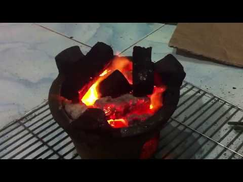 Handmade charcoal briquettes burning test