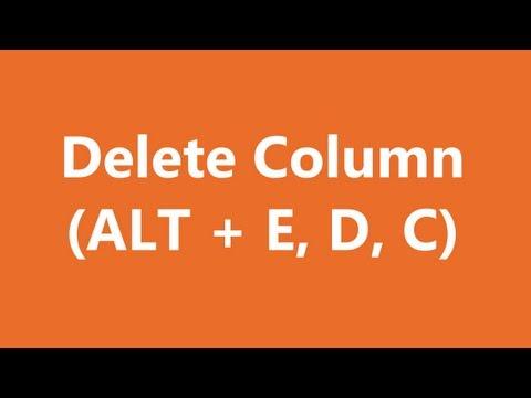 Excel Shortcuts - Delete Column