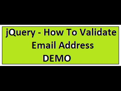 JQUERY VALIDATE EMAIL ADDRESS DEMO