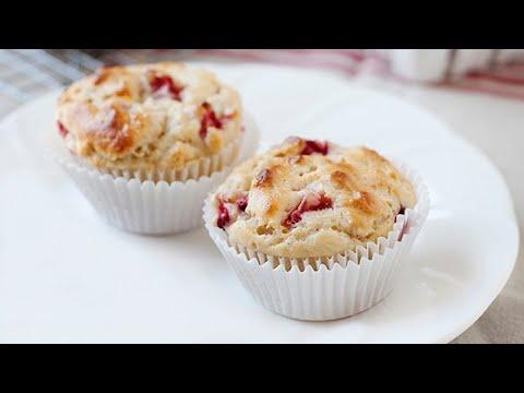 Strawberry Yogurt Oat Muffins