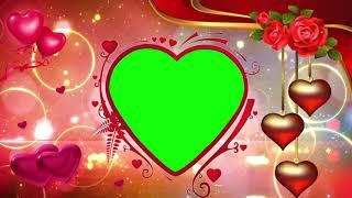 LOVE wedding frame green screen video golden heart - PakVim net HD
