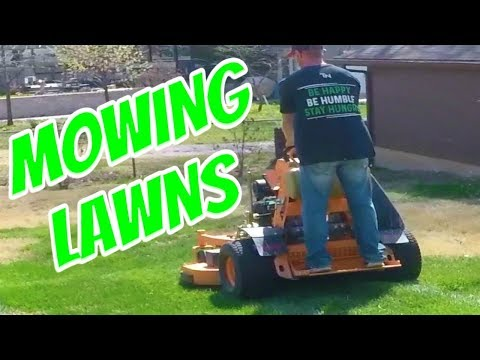 Mowing Single Residential Lawns, Lawn Care Vlog #7