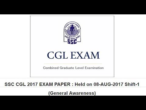 SOLVED SSC CGL 2017 EXAM PAPER !! (General Awareness) !! Held on 08-AUG-2017 Shift-1