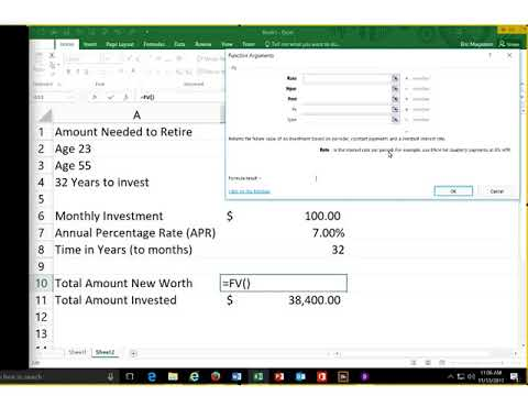 Introduction to Excel's Future Value Function (Preparing for Retirement)