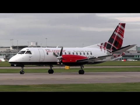 Loganair Saab 340 G-LGNB Close-up Takeoff from Manchester Airport