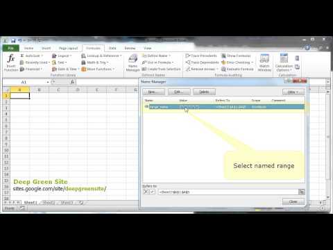 MS Excel 2010 / How to redefine cells in named range