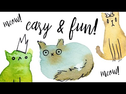 Painting Easy & Fun Watercolor Cats with Washes Tutorial // Illustration Ideas for Beginners