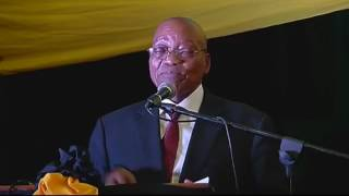 Jacob Zuma addressing ANC supporters in Zulu about cabinet reshuffle.