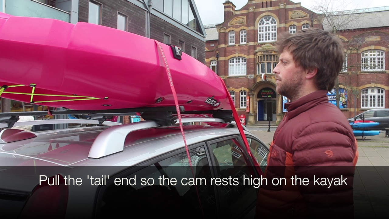 How to transport a kayak on a roof rack.
