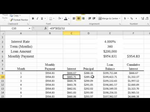 Calculating Mortgage and APR in Excel 2010