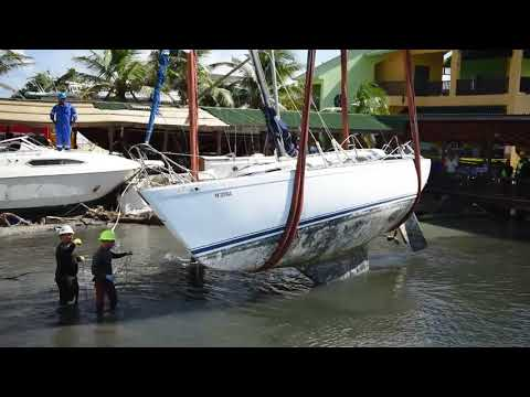 Relief Crews Salvage Sailboat Damaged by Hurricane in Ponce, Puerto Rico