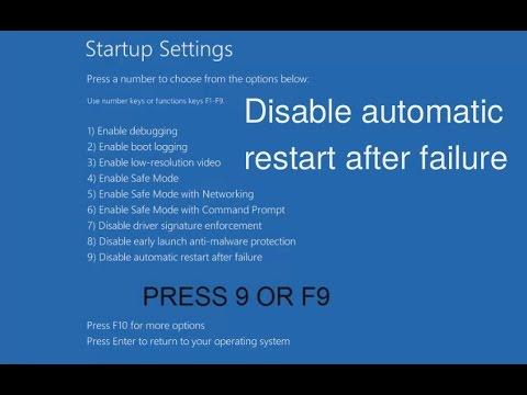 Disable automatic restart on system failure Windows 10