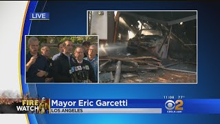 LA Mayor Delivers Update On Skirball, Creek Fires