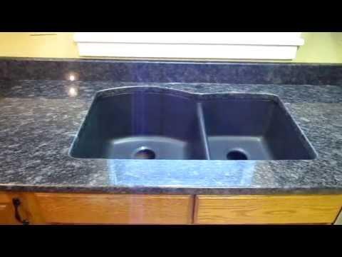 Steel Grey Custom Granite Countertop Installation W/ Composite Undermount Sink