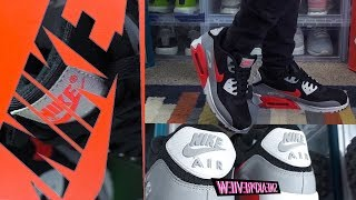 f5427c1f8820 NIKE AIR MAX 90 OG INFRARED WHITE COOL-NTRL GREY ON FEET REVIEW + ...