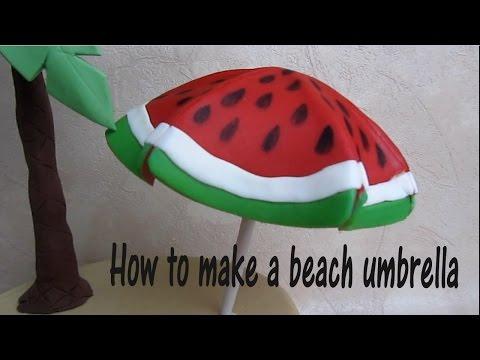 How to make a Beach Umbrella cake topper out of fondant - Come fare un ombrellone in pdz