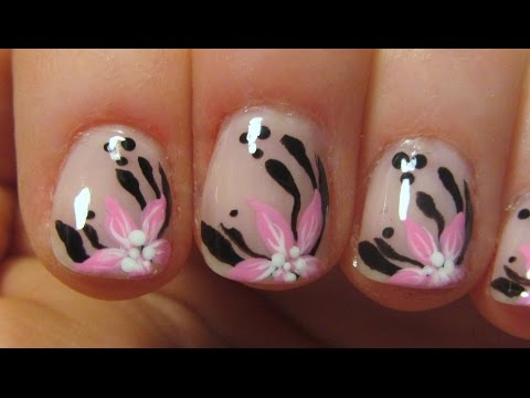 Pink Flowers and Black Leaves on Neutral Pink Background Nail Art Tutorial