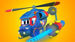 Truck videos for kids - Super HELICOPTER saves the day with his LASER  - Super Truck in Car City